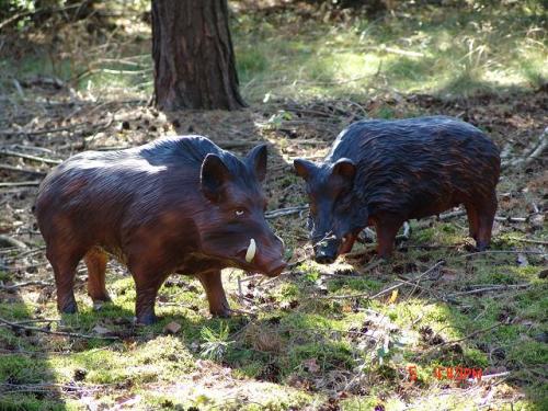 Wildschwein Bache 86cm Und Keiler Kunstharz 102cm