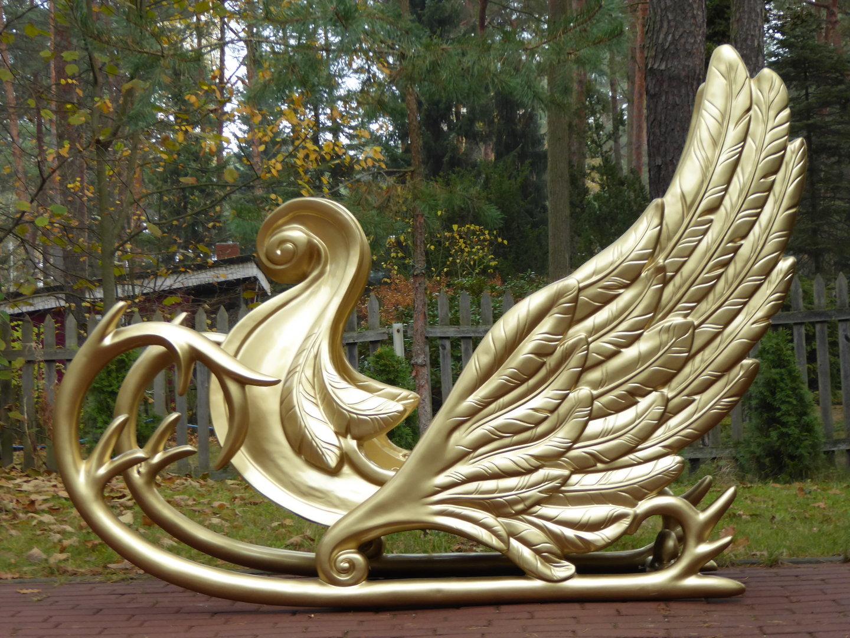 Weihnachtsschlitten, goldfarben lackiert, 190cm - HERZLICH ...